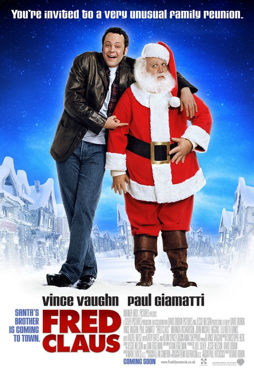 Fred Claus Film Poster Starring Vince Vaughn and Paul Giamatti,