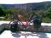 my bike posing in the Gorge d'Ardeche