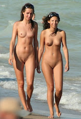 Two Hot Naked Girls Walking On The Beach Trimmed Pussy
