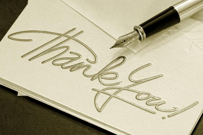 write  thank you
