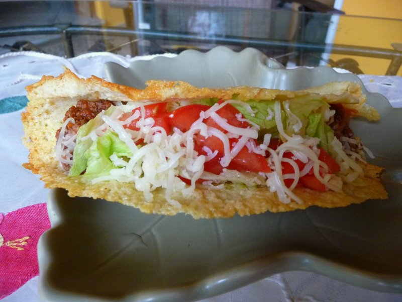 Giant Cheese Taco Cheese tacos: spread grated