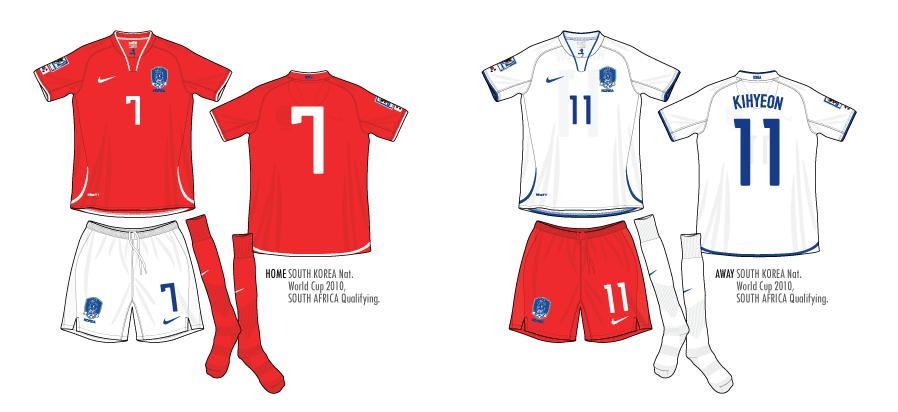 Football Teams Shirt And Kits Fan South Korea 2008 2010 Pack