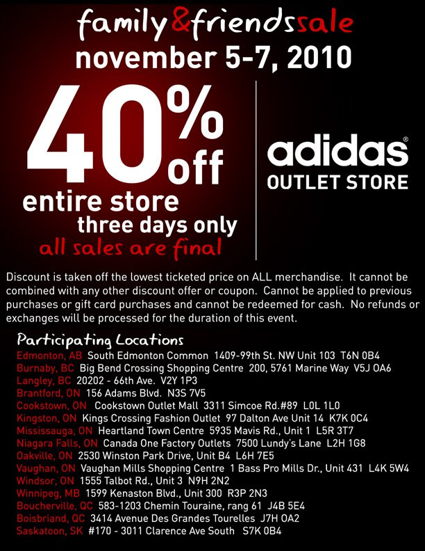 adidas outlet store mississauga