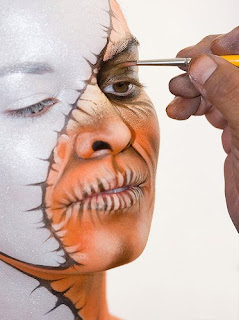 The body paint's face