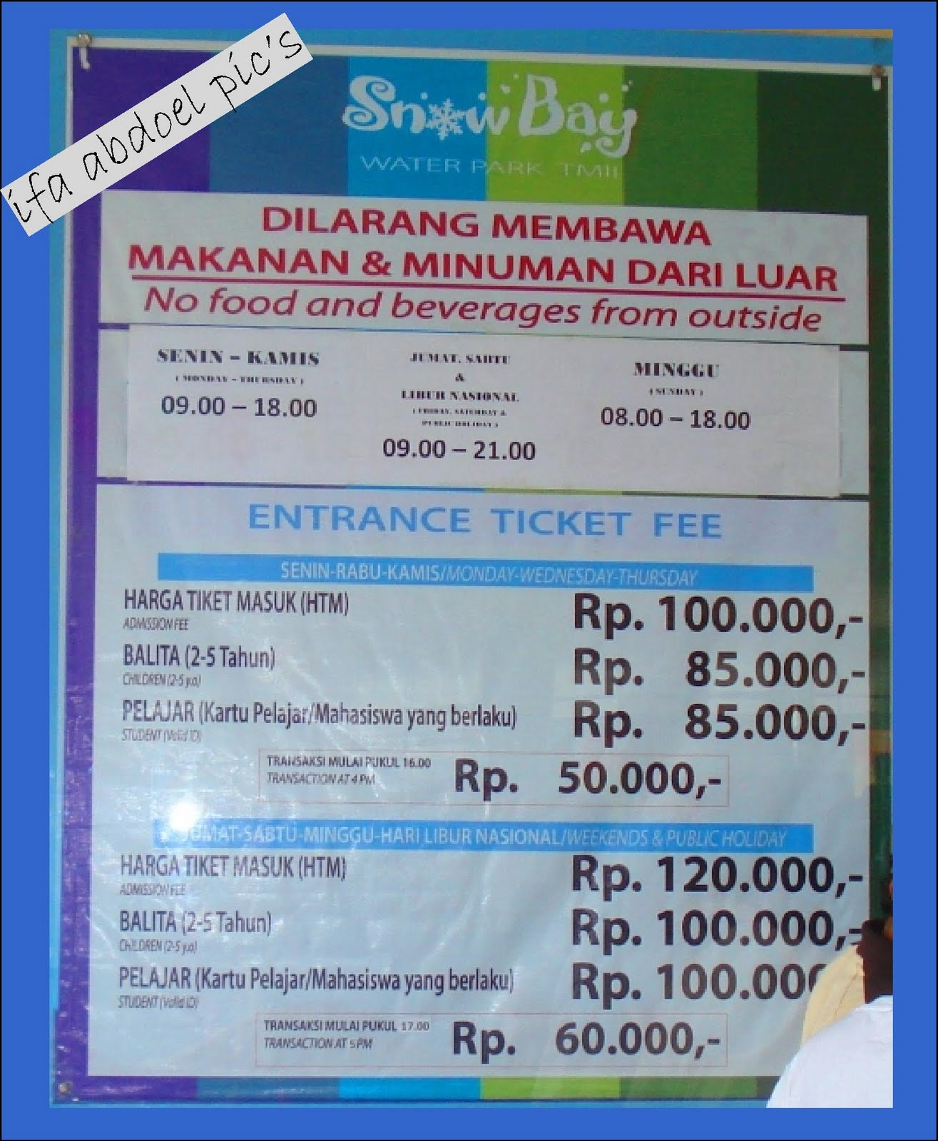 Harga tiket Snow Bay Waterpark.