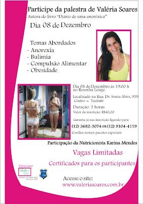 Palestra Valéria Soares, transtornos alimentares, diário de uma anoréxica