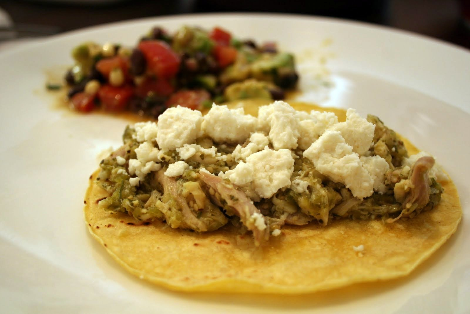 Stuff By Stace: Shredded Chicken and Tomatillo Tacos with Queso Fresco