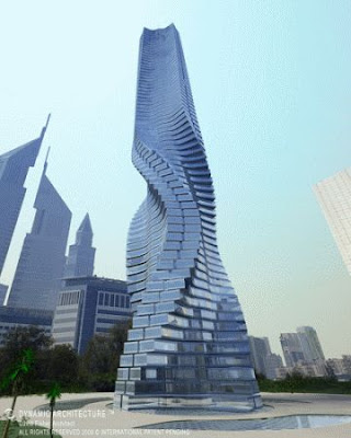 Rotating skyscraper powered by wind