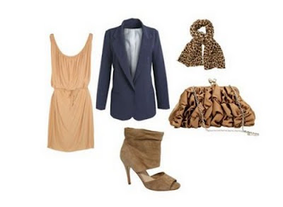 outfit, boyfriend blazer, nude dress