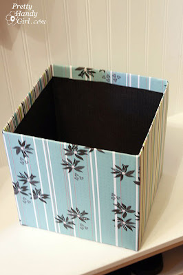 Turn cardboard box into Decorative bin