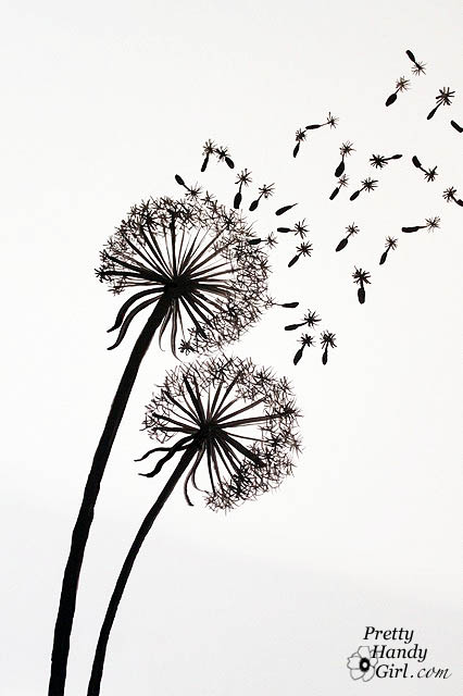 tutorial for painting dandelion wall graphic pretty handy girl. Black Bedroom Furniture Sets. Home Design Ideas