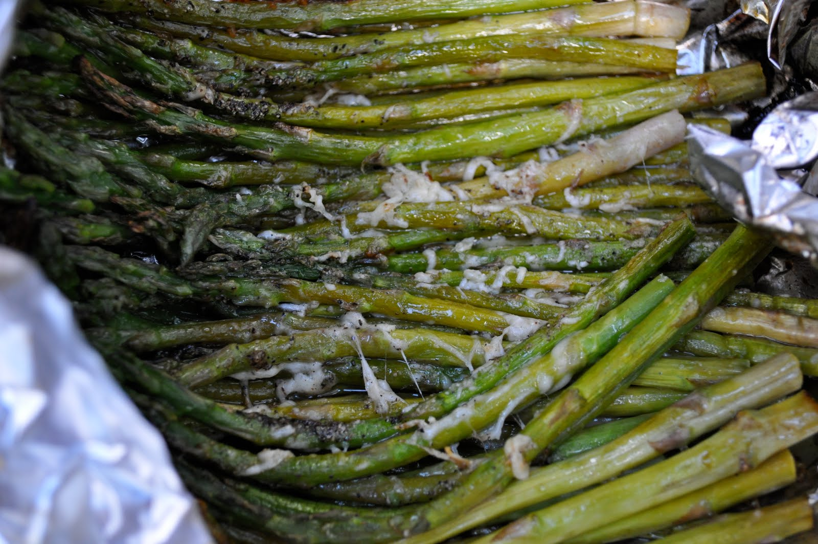 Place On The Grill, In The Tin Foil, On Medium Heat Cook For About 7 To 8  Minutes There Is Really No Need To Turn The Asparagus While On The Grill