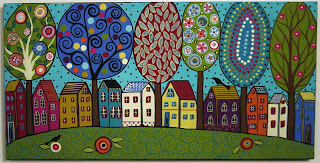 Karla Gerard Art 10 Houses 6 Trees Amp 2 Birds Painting By