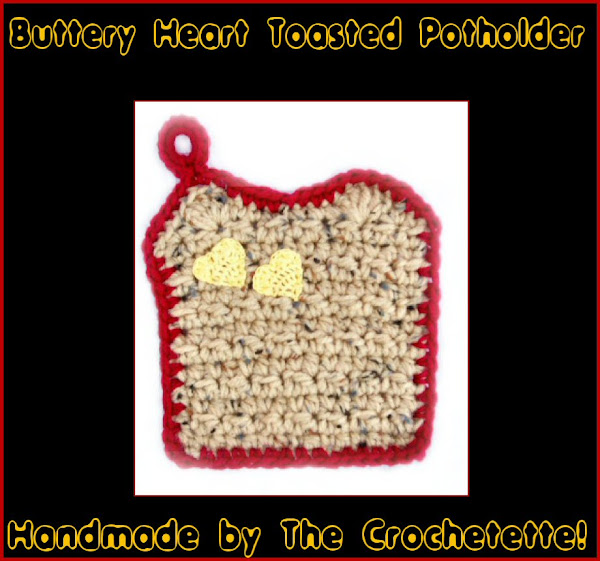 Buttery Heart Toast Crocheted Potholder Pot Holder