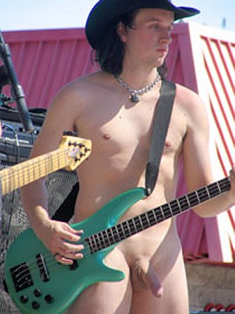 naked guys with guitar