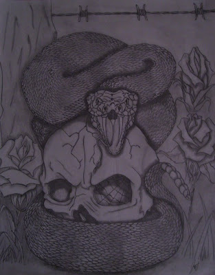 Skull and Snake Tattoo Design