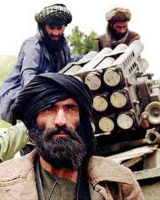 Afghan Taliban with multiple-roclet launcher