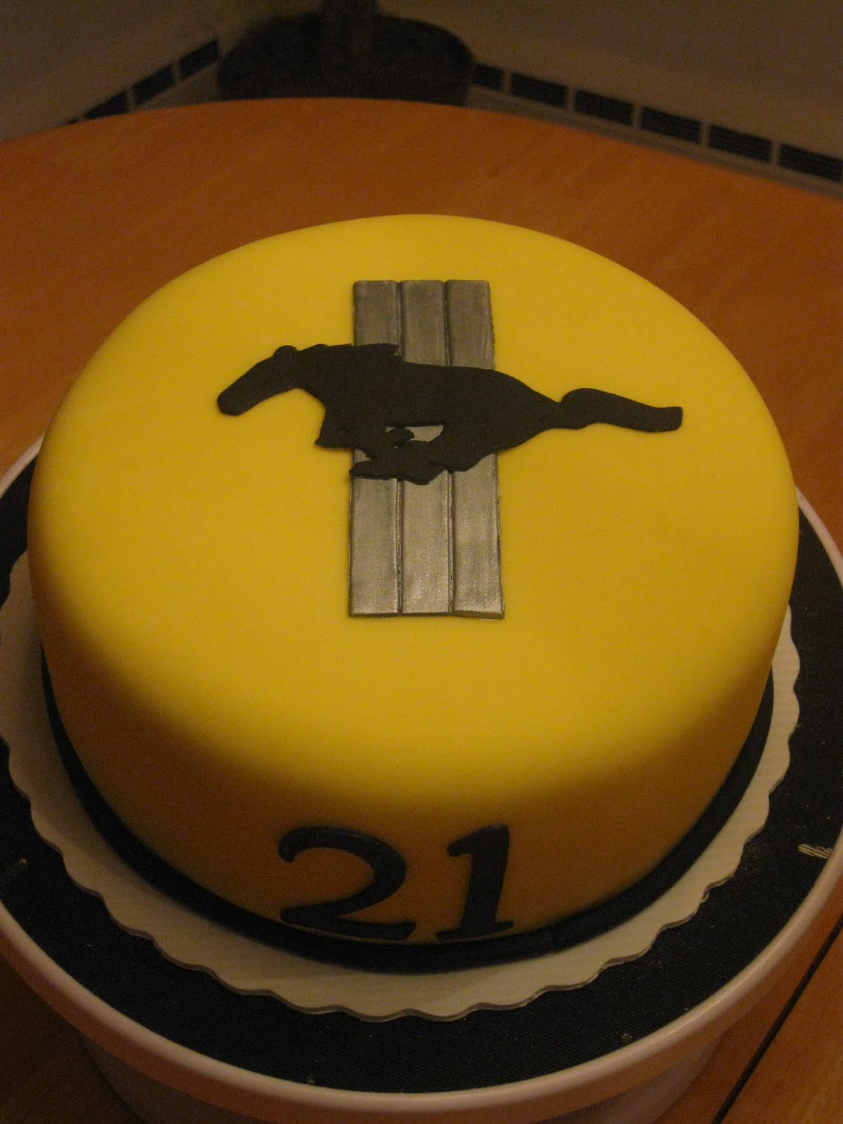 Cakes by Becky: Yellow Mustang Birthday Cake