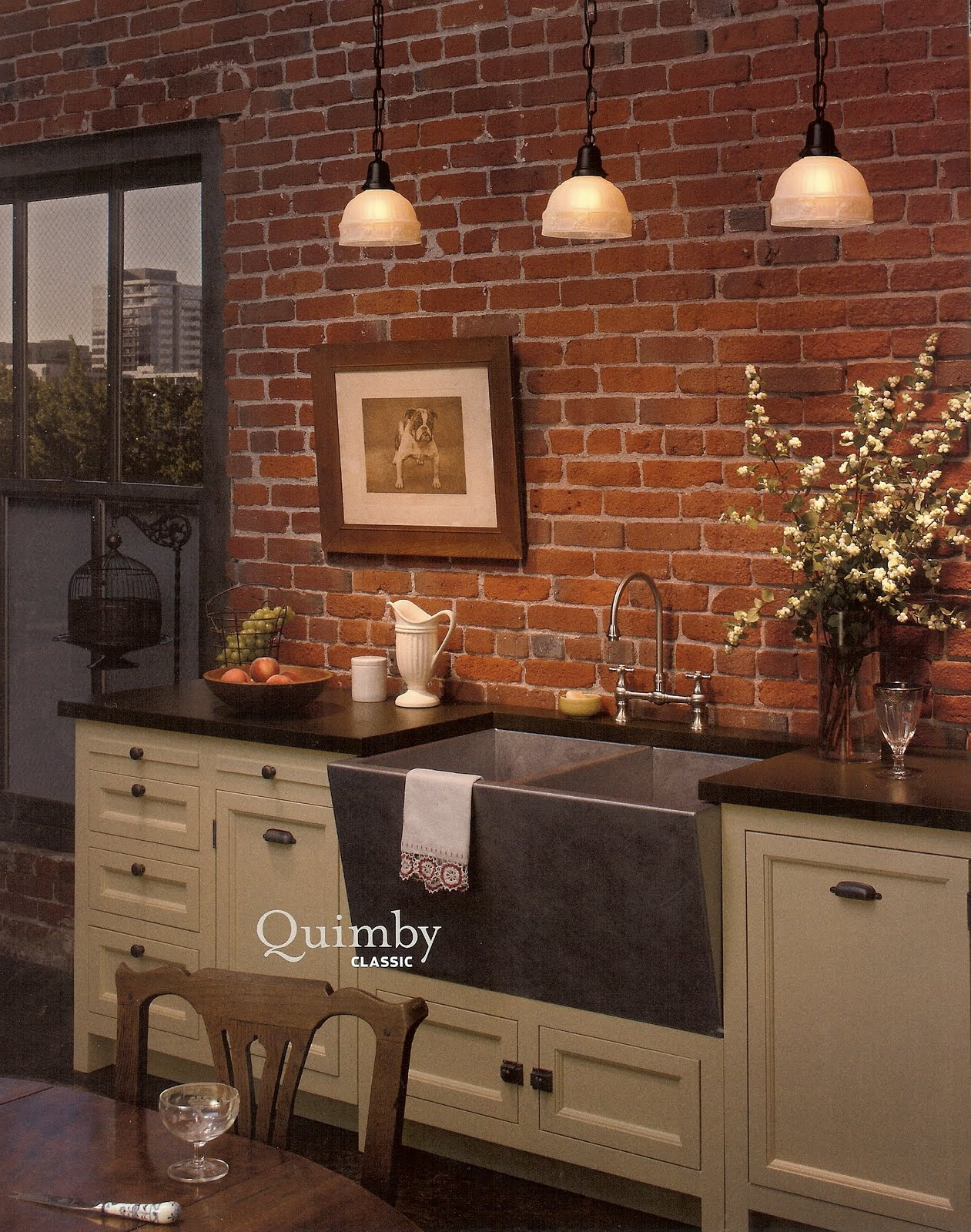 Meli exposed brick walls for Kitchen designs with brick walls
