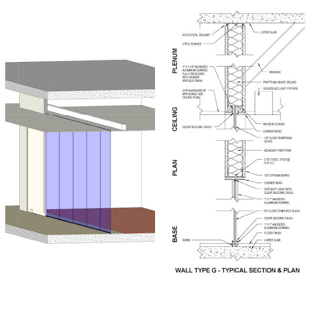 Revit Detail: 01.1 Analysis of full height glass partitions