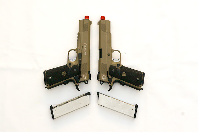 Airsoft, WE 1911 Tan, MEU, Green Gas Blowback, Airsoft Guns