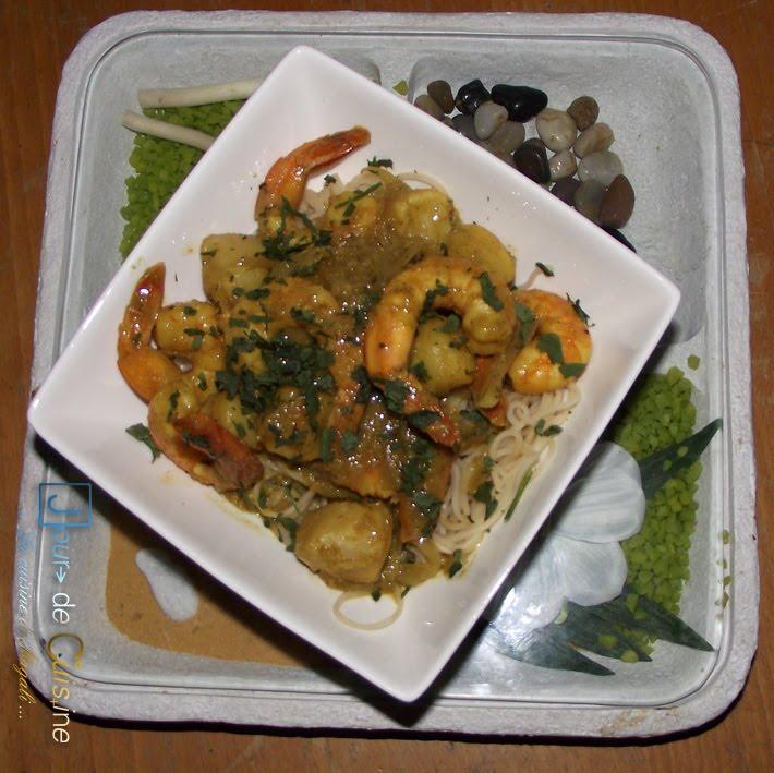 jour de cuisine les cours de cuisine clermont ferrand saint jacques et crevettes au curry. Black Bedroom Furniture Sets. Home Design Ideas