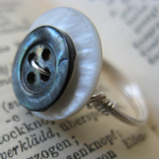 Handmade Sterling Silver Ring with Mother of Pearl Buttons