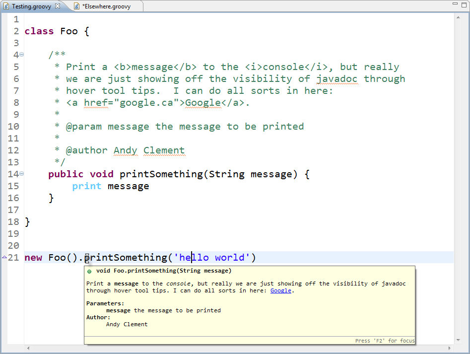 Groovy eclipse and javadoc hovers | AspectJ and Eclipse ... Javadoc Comment