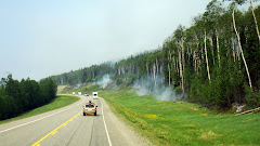 Being Escorted Through Fire Area on Alaskan Highway on Way to Watson Lake in The Yukon