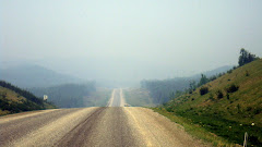 Driving on the Alaskan Highway Through the Smoke After the Fire