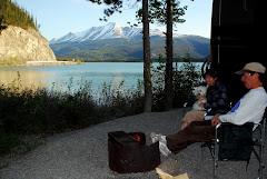 "Enjoying the Fire at ""Night"" (10:30 p.m.) in Muncho Lake, BC"