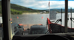 Looking Out of the RV While it is on the Ferry Crossing the Yukon in Dawson City, Alaska