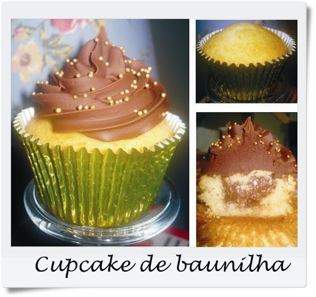 cupcake de baunilha coberto com ganache de amarula