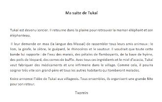 à PIns Justaret, la classe de de Martine a écrit une suite à l'histoire de Tukaï