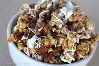 Cinnamon Caramel Corn with Pecans & White Chocolate {AKA Cinnamon Bun Popcorn!}