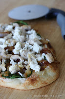 Flatbread Pizza with Spinach, Caramelized Onions, and Feta