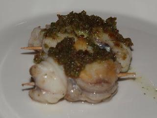 Familiekeuken kerstdiner 2009 gang 6 spiesje van zeeduivel met amandel kruidendip - Saint maclou tapijt van gang ...