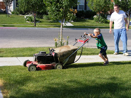 Michael Mowing the Lawn
