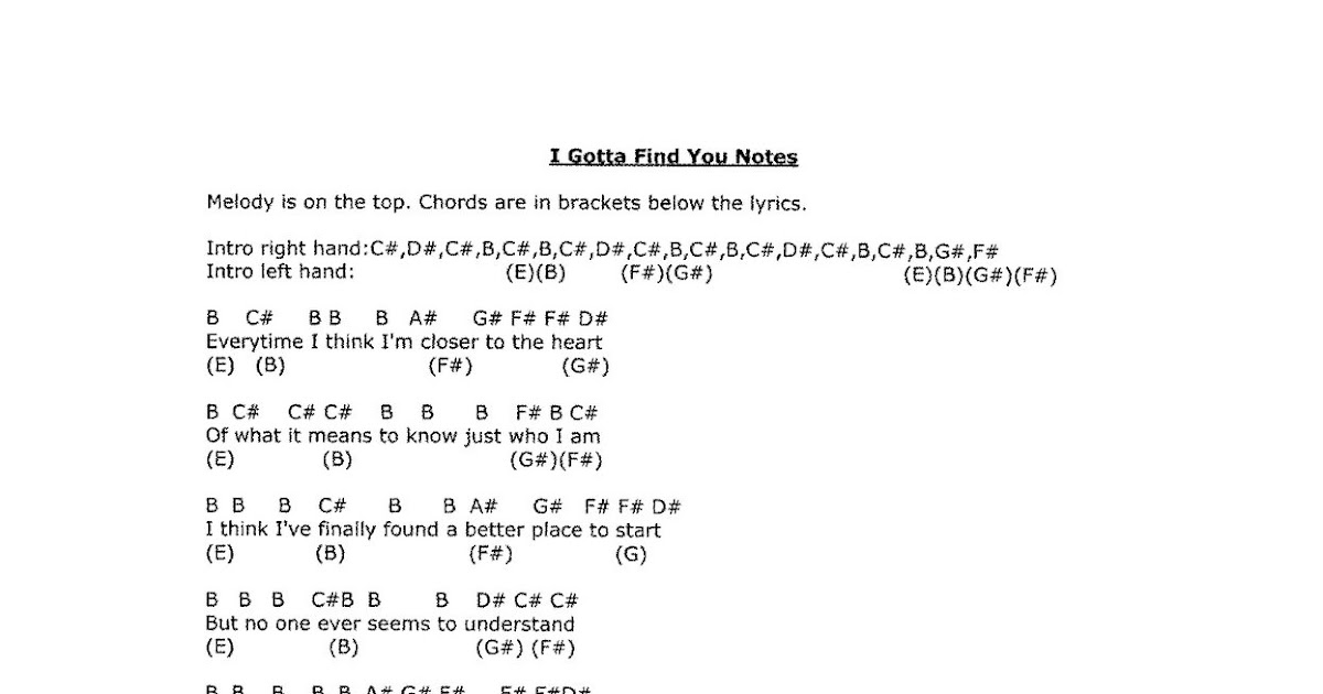 Horsegirl15 Sheet Music And Notes I Gotta Find You Notes And Sheet