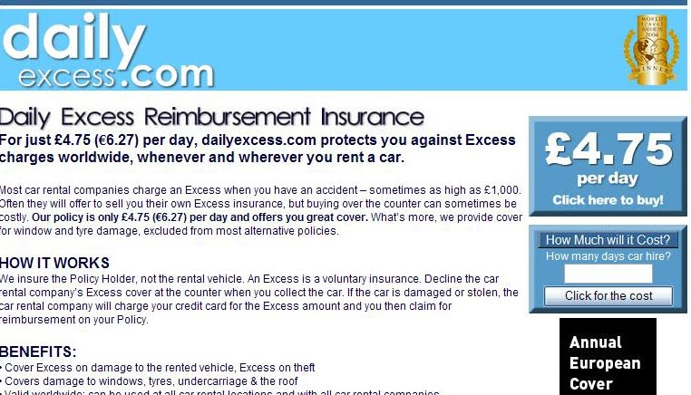 Daily Car Hire Insurance Excess