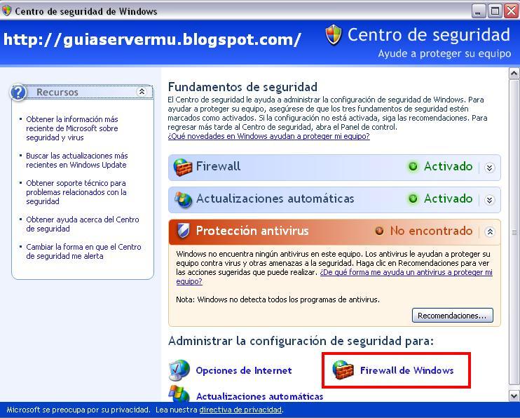 Firewall de windows