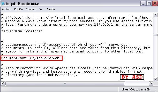 Editando archivo htppd