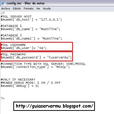 Configurando datos sql en el config