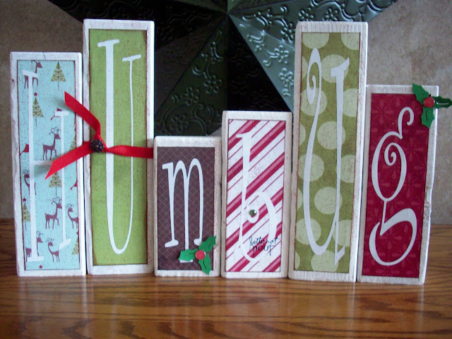 Humbug Christmas blocks from blocks of wood