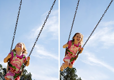 girl portrait on swing