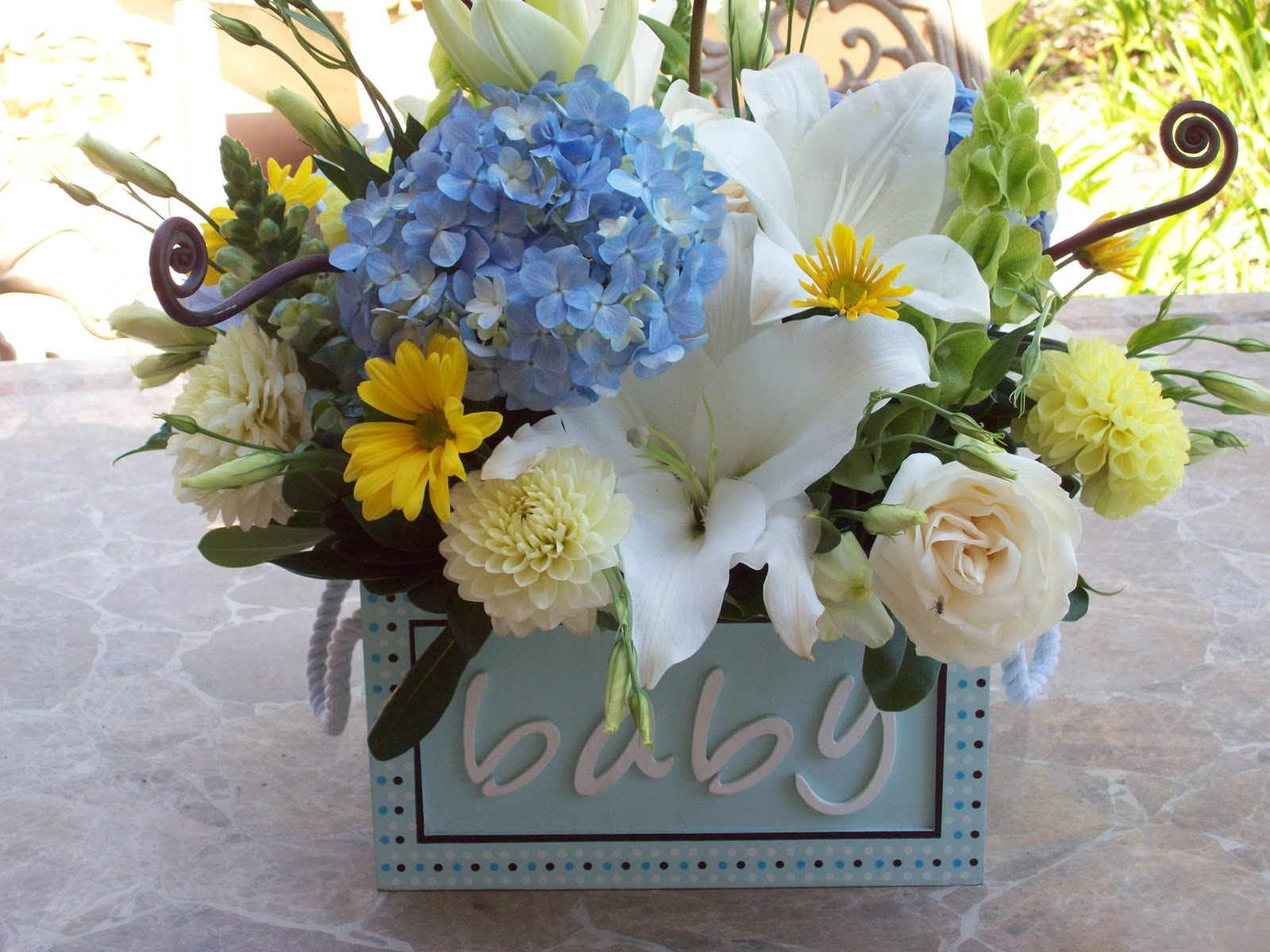 Oh so chic wedding event planning real party brown for Baby shower flower decoration ideas