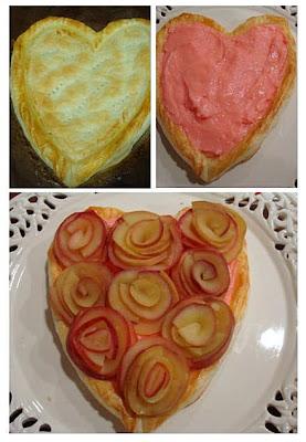 Cœur de pâte feuillete avec bouquet de roses Rosa5