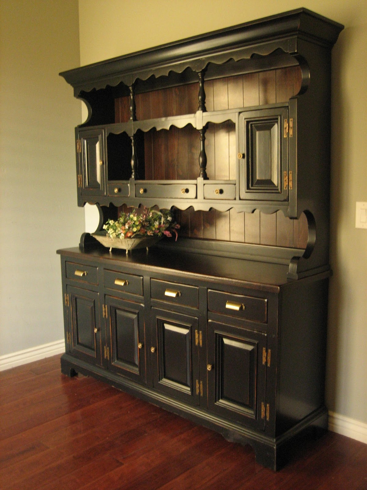 European Paint Finishes Rustic Black Farmhouse Hutch