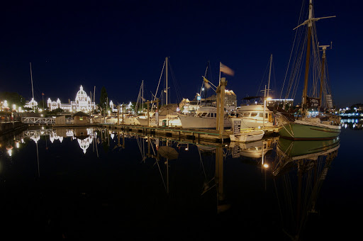 Inner Harbour at night with Legislative Assembly Buildings, Victoria, BC, Canada