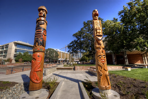 Spirit Poles, Spirit Square, Centennial Square, Lekwammen, Totem Poles, Victoria, BC, Canada